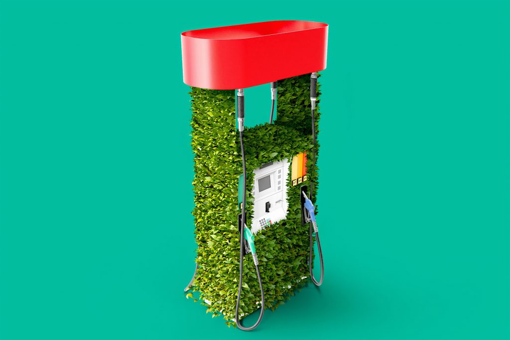 gasstation full with green leaves