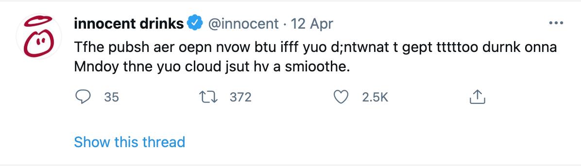 Screenshot Innocent Tweet about opening up bars after corona