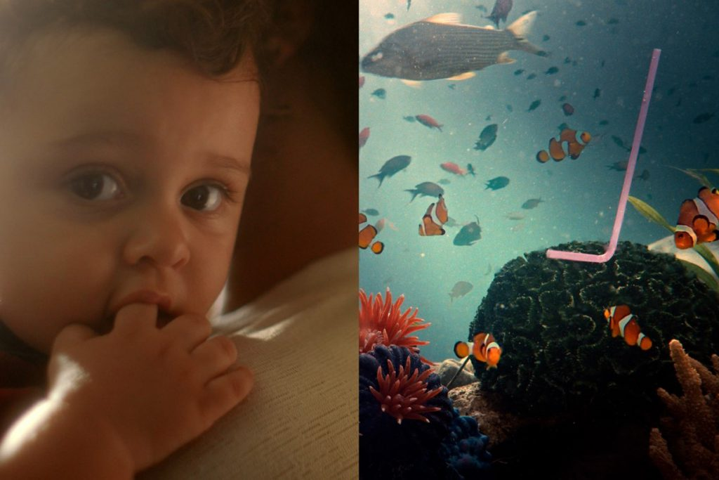 Little boy on the left side of the image and on the right side of the image a straw in ocean