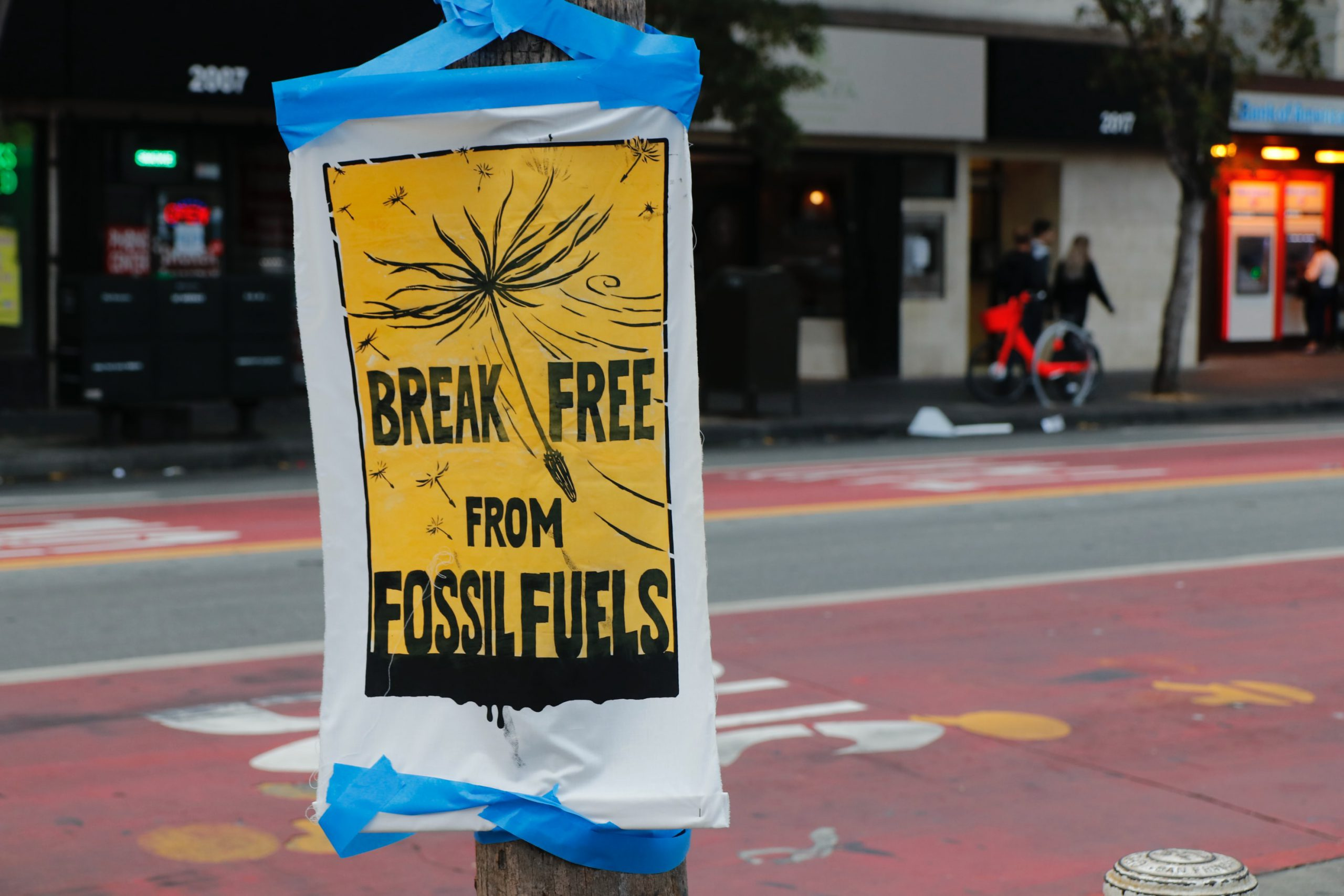 Post with text break free from fossil fuels