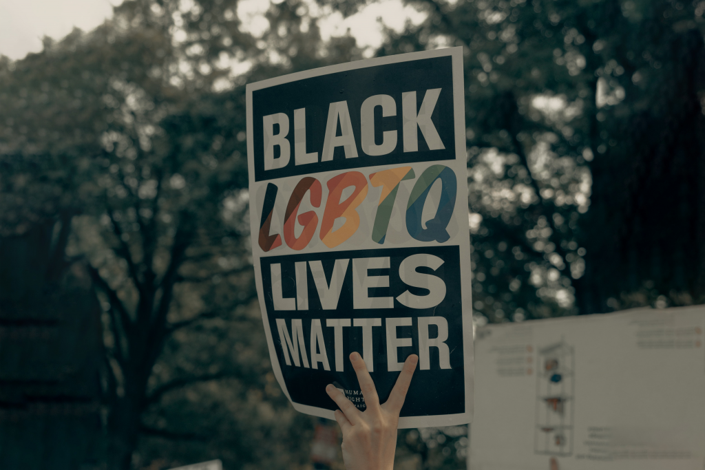 someone holding up a board during a demonstration black lgbtq lives matter